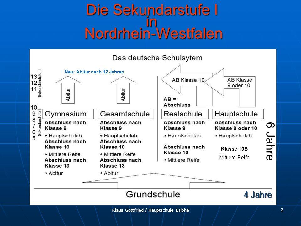 Klaus Gottfried / Hauptschule Eslohe 13 Berufskolleg Berufskolleg Die Sekundarstufe II in Nordrhein-Westfalen Abschlüsse Sekundarstufe II (Fachhochschulreife, fachgebundene Hochschulreife, allgemeine Hochschulreife) Abschlüsse der Sekundarstufe I können nachgeholt werden Gleichzeitig erwirbt man entweder berufliche Kenntnisse, eine berufliche Grundbildung oder eine schulische Berufsausbildung Berufspraktische Fertigkeiten werden dabei entweder in der Schule, im Praktikum oder im Ausbildungsbetrieb erworben