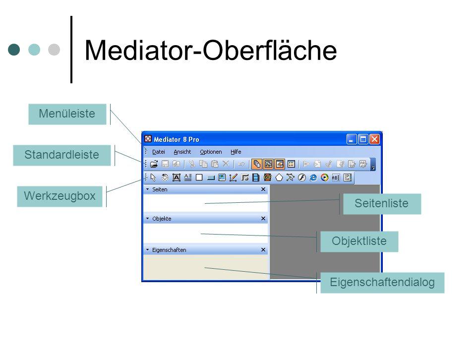 Mediator-Oberfläche Menüleiste Standardleiste Werkzeugbox Seitenliste Objektliste Eigenschaftendialog