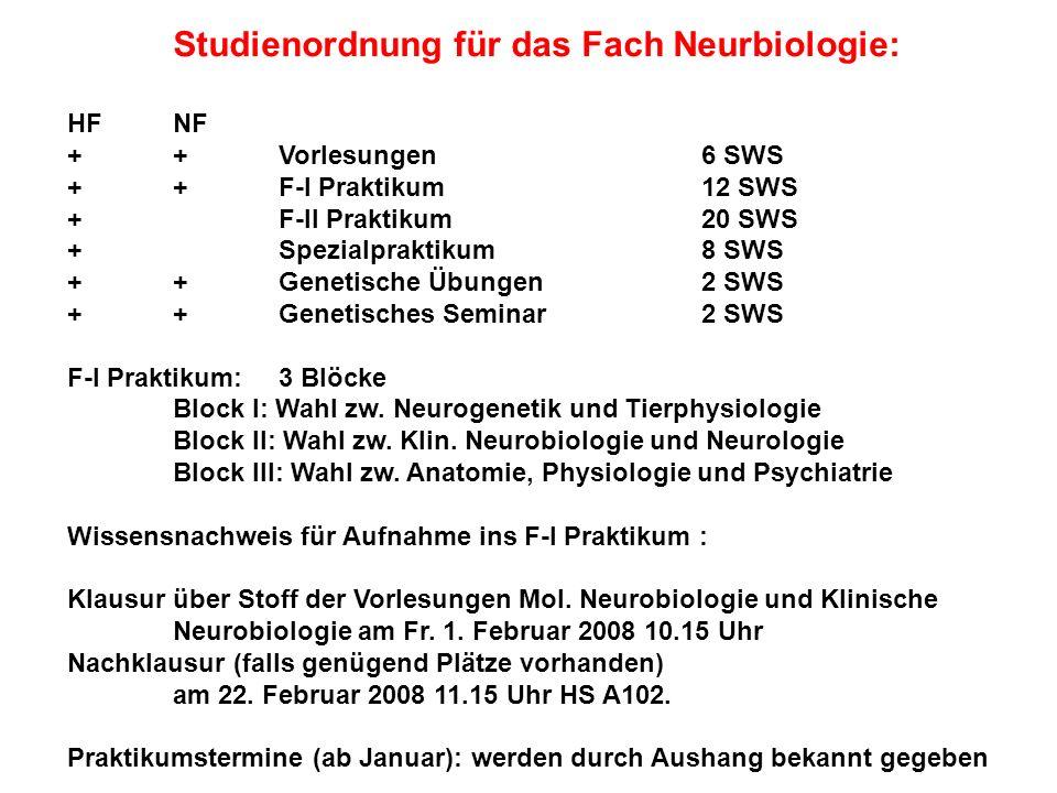 Studienordnung für das Fach Neurbiologie: HFNF ++Vorlesungen 6 SWS ++F-I Praktikum12 SWS +F-II Praktikum20 SWS +Spezialpraktikum8 SWS ++Genetische Übu