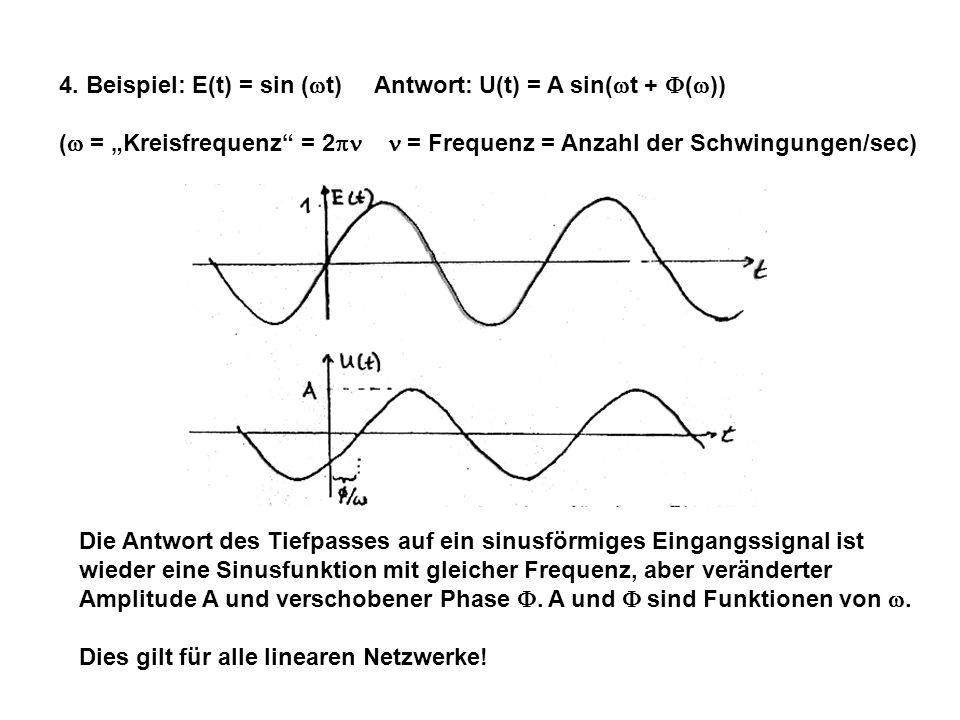 4. Beispiel: E(t) = sin ( t) Antwort: U(t) = A sin( t + ( )) ( = Kreisfrequenz = 2 = Frequenz = Anzahl der Schwingungen/sec) Die Antwort des Tiefpasse