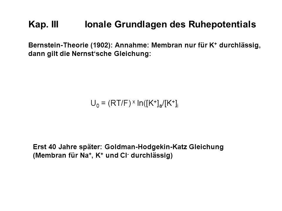 Kap. IIIIonale Grundlagen des Ruhepotentials Bernstein-Theorie (1902): Annahme: Membran nur für K + durchlässig, dann gilt die Nernstsche Gleichung: E