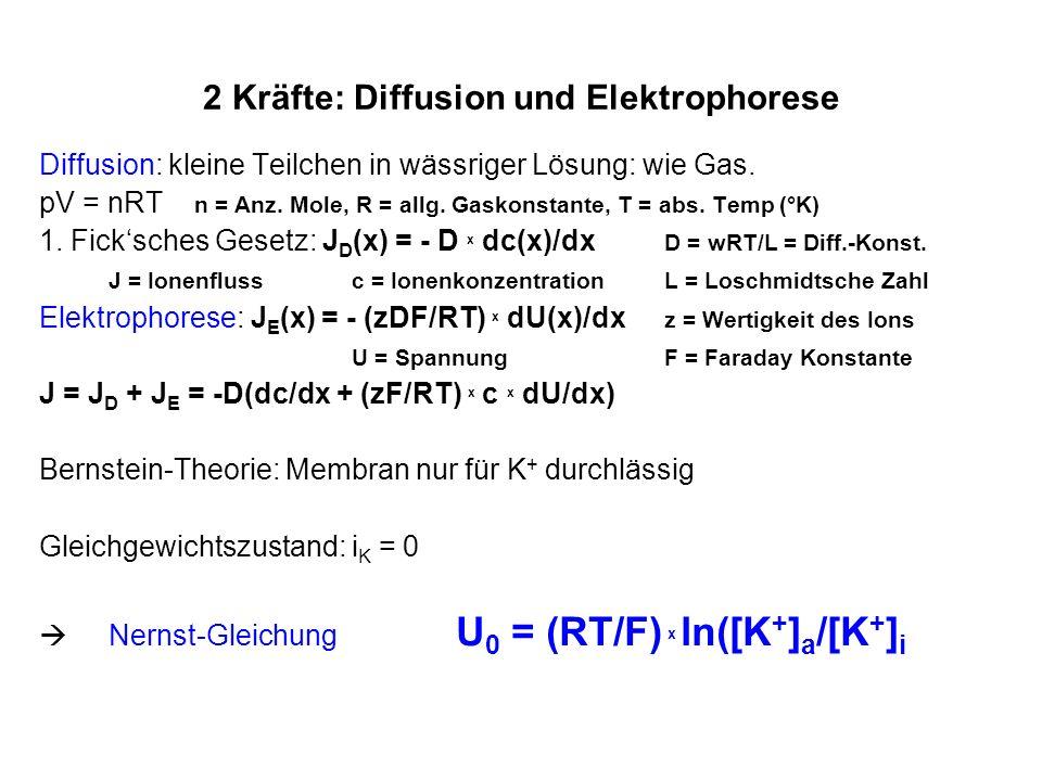 2 Kräfte: Diffusion und Elektrophorese Diffusion: kleine Teilchen in wässriger Lösung: wie Gas. pV = nRT n = Anz. Mole, R = allg. Gaskonstante, T = ab