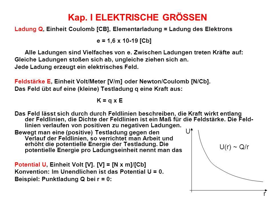 Kap. IELEKTRISCHE GRÖSSEN Ladung Q, Einheit Coulomb [CB], Elementarladung = Ladung des Elektrons e = 1,6 x 10-19 [Cb] Alle Ladungen sind Vielfaches vo