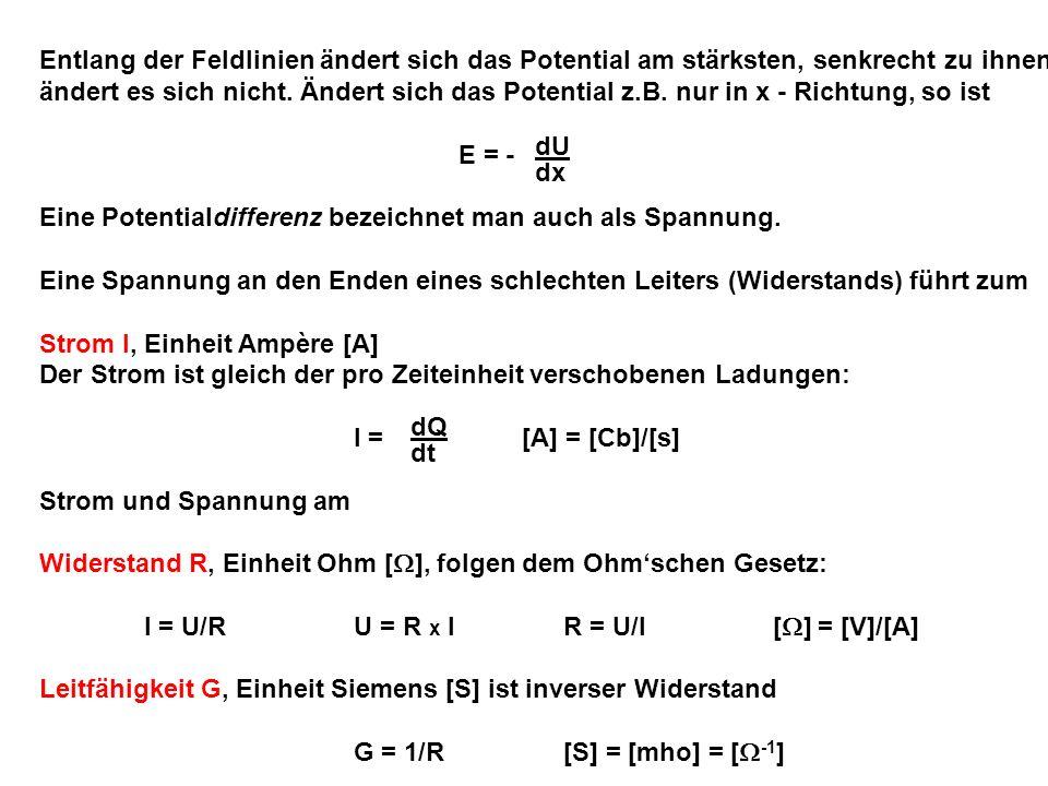 Beispiel Draht: Fläche f Länge l R = x l/f = spezifischer Widerstand [ x m] Spezifische Widerstände: z.B.