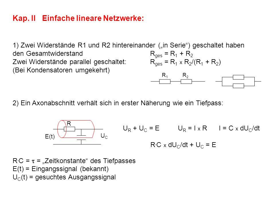 Kap. II Einfache lineare Netzwerke: 1) Zwei Widerstände R1 und R2 hintereinander (in Serie) geschaltet haben den Gesamtwiderstand R ges = R 1 + R 2 Zw