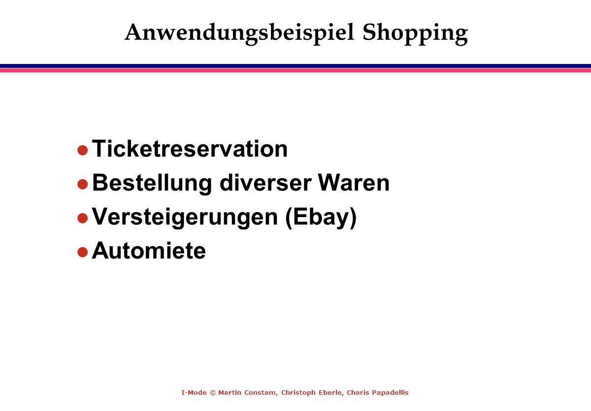 I-Mode © Martin Constam, Christoph Eberle, Charis Papadellis Anwendungsbeispiel Shopping l Ticketreservation l Bestellung diverser Waren l Versteigeru