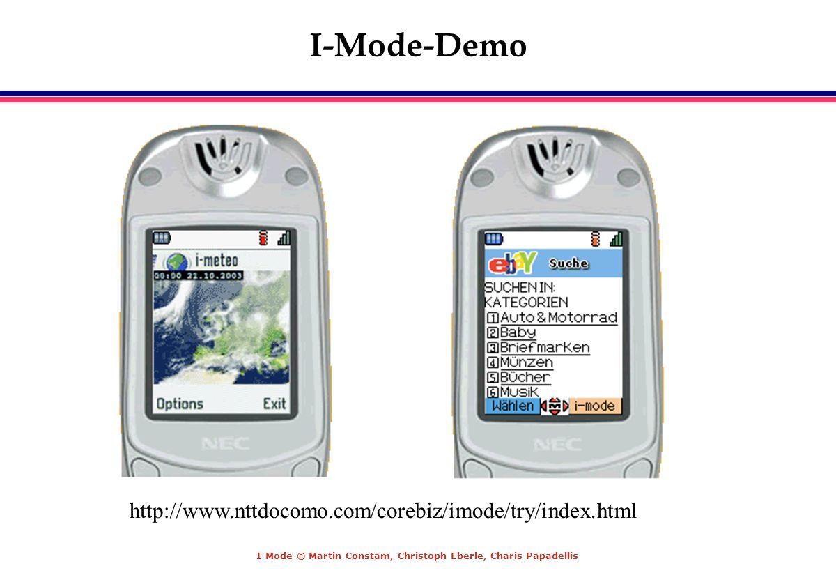 I-Mode © Martin Constam, Christoph Eberle, Charis Papadellis I-Mode-Demo http://www.nttdocomo.com/corebiz/imode/try/index.html