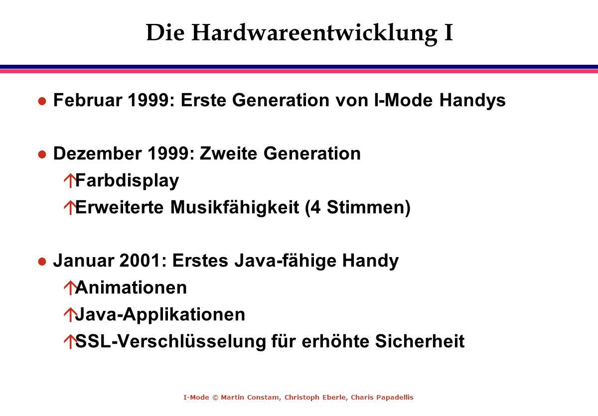 I-Mode © Martin Constam, Christoph Eberle, Charis Papadellis Die Hardwareentwicklung I l Februar 1999: Erste Generation von I-Mode Handys l Dezember 1