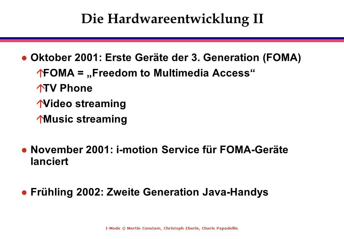 I-Mode © Martin Constam, Christoph Eberle, Charis Papadellis Die Hardwareentwicklung II l Oktober 2001: Erste Geräte der 3. Generation (FOMA) áFOMA =