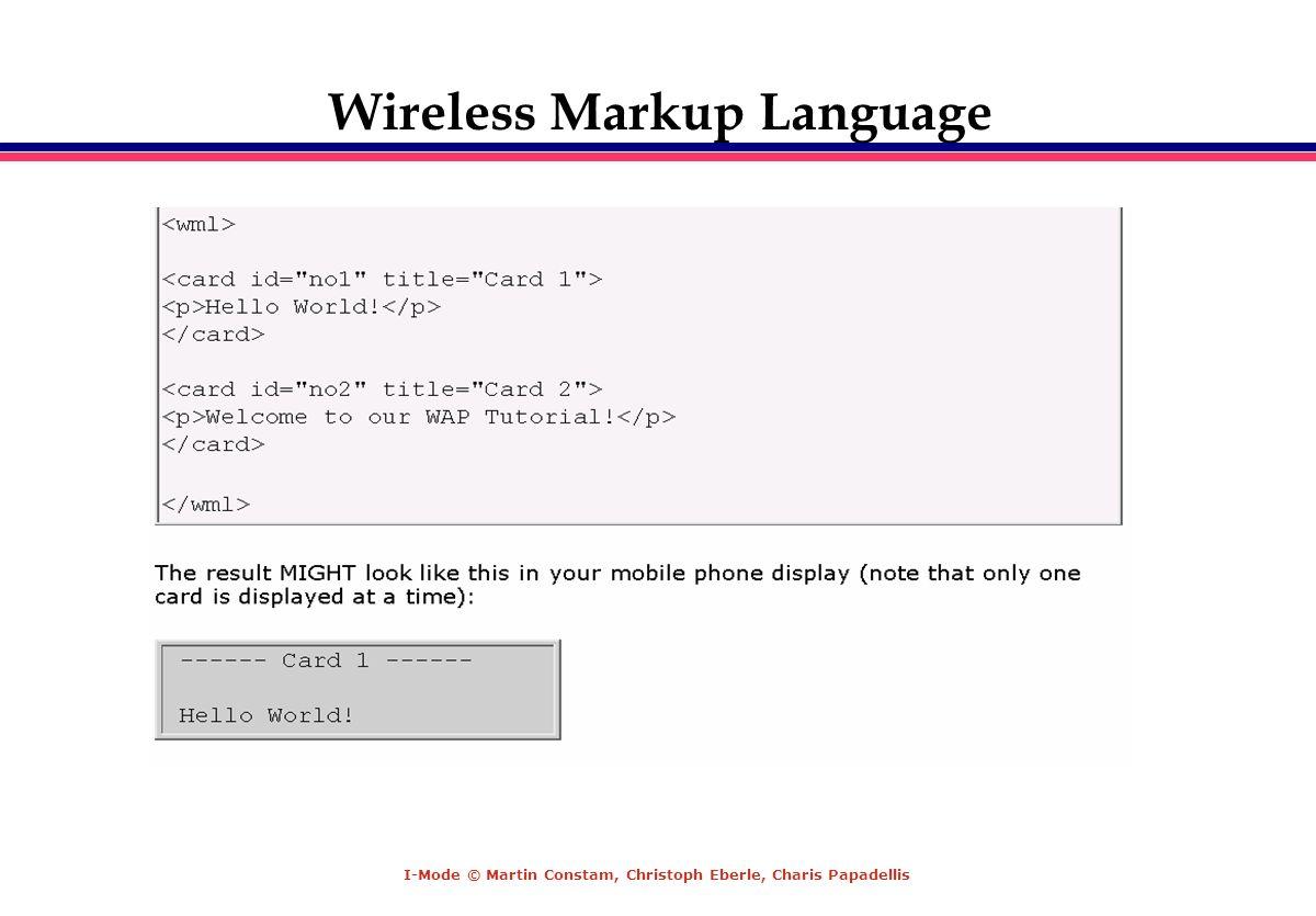 I-Mode © Martin Constam, Christoph Eberle, Charis Papadellis Wireless Markup Language