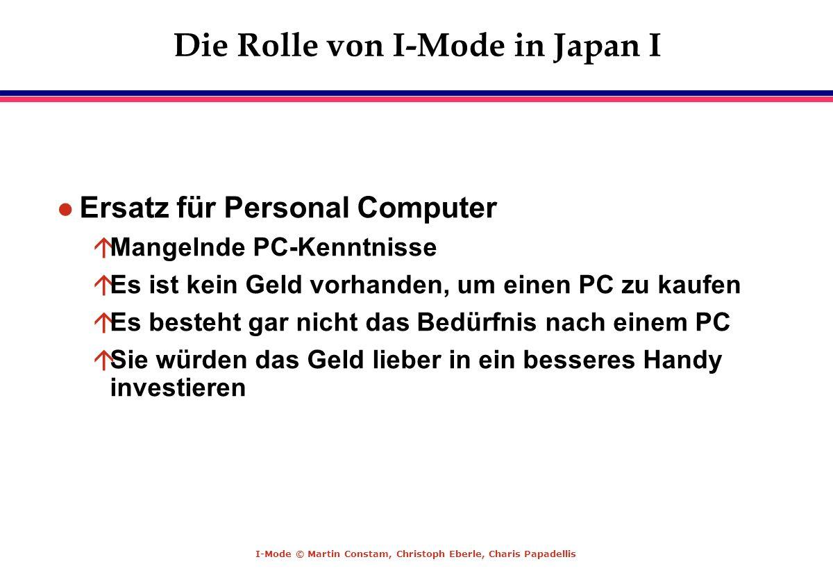 I-Mode © Martin Constam, Christoph Eberle, Charis Papadellis Die Rolle von I-Mode in Japan I l Ersatz für Personal Computer áMangelnde PC-Kenntnisse á