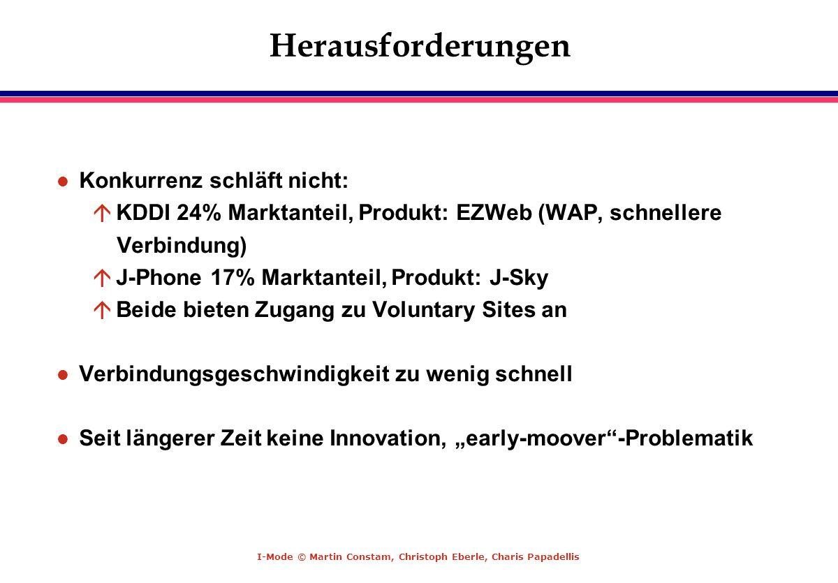 I-Mode © Martin Constam, Christoph Eberle, Charis Papadellis Herausforderungen l Konkurrenz schläft nicht: á KDDI 24% Marktanteil, Produkt: EZWeb (WAP