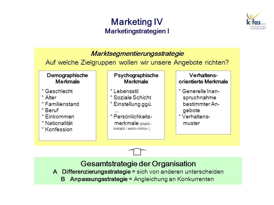 Marketing IV Marketingstrategien I Gesamtstrategie der Organisation A Differenzierungsstrategie = sich von anderen unterscheiden B Anpassungsstrategie