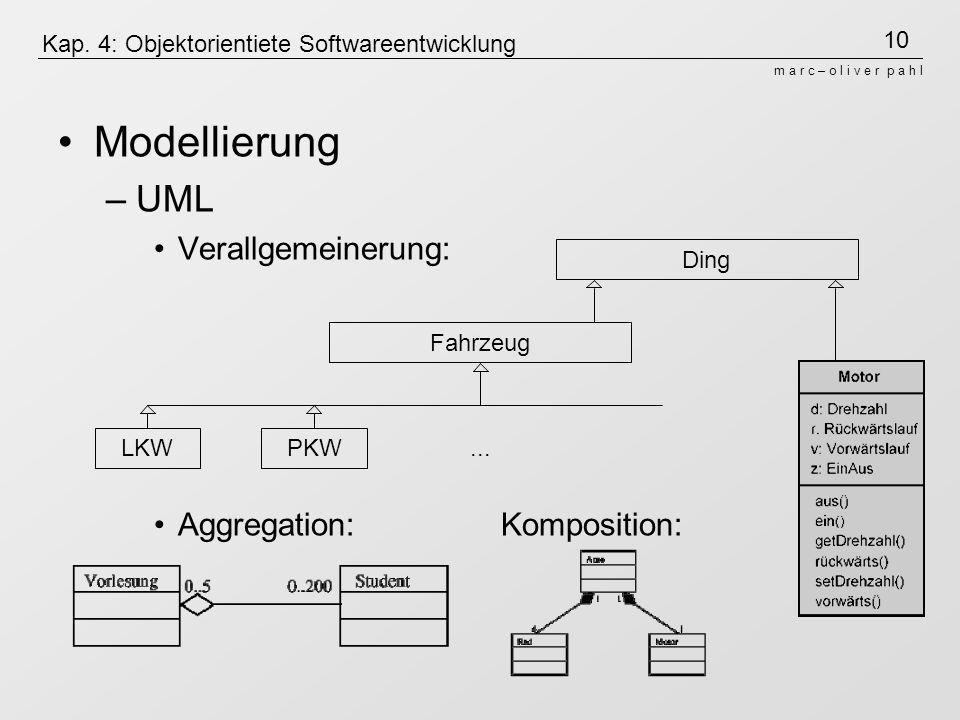 10 m a r c – o l i v e r p a h l Kap. 4: Objektorientiete Softwareentwicklung Modellierung –UML Verallgemeinerung: Aggregation: Komposition: PKW... Fa