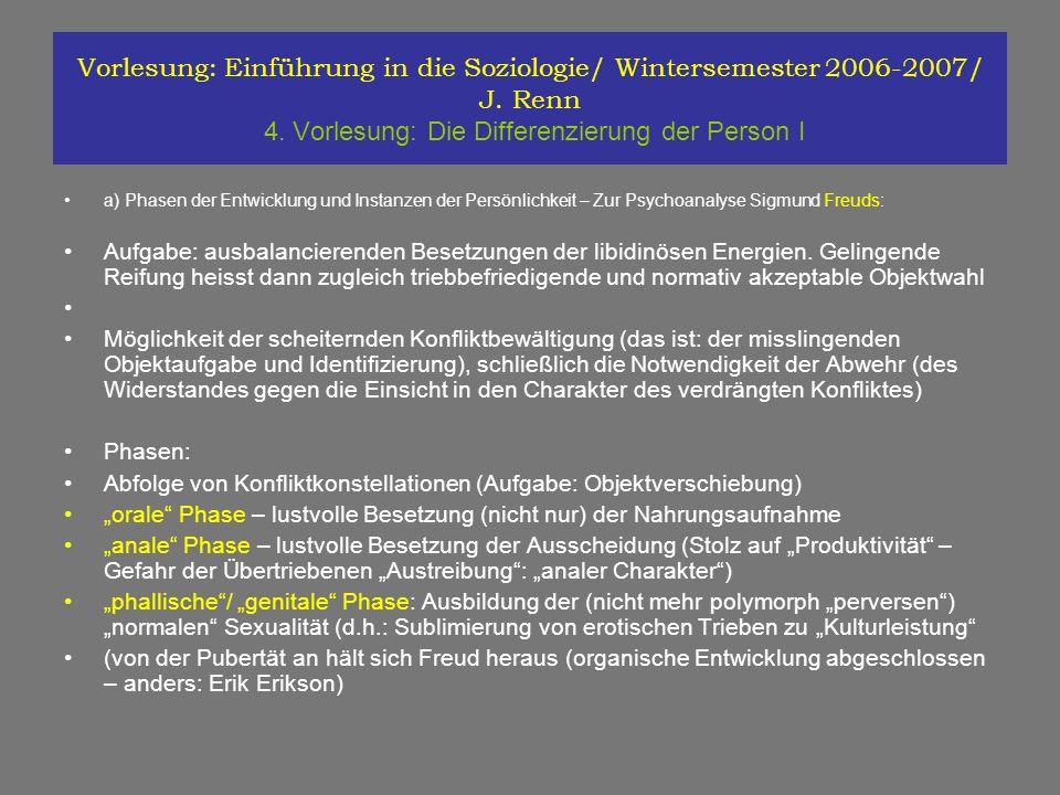 Vorlesung: Einführung in die Soziologie/ Wintersemester 2006-2007/ J. Renn 4. Vorlesung: Die Differenzierung der Person I a) Phasen der Entwicklung un