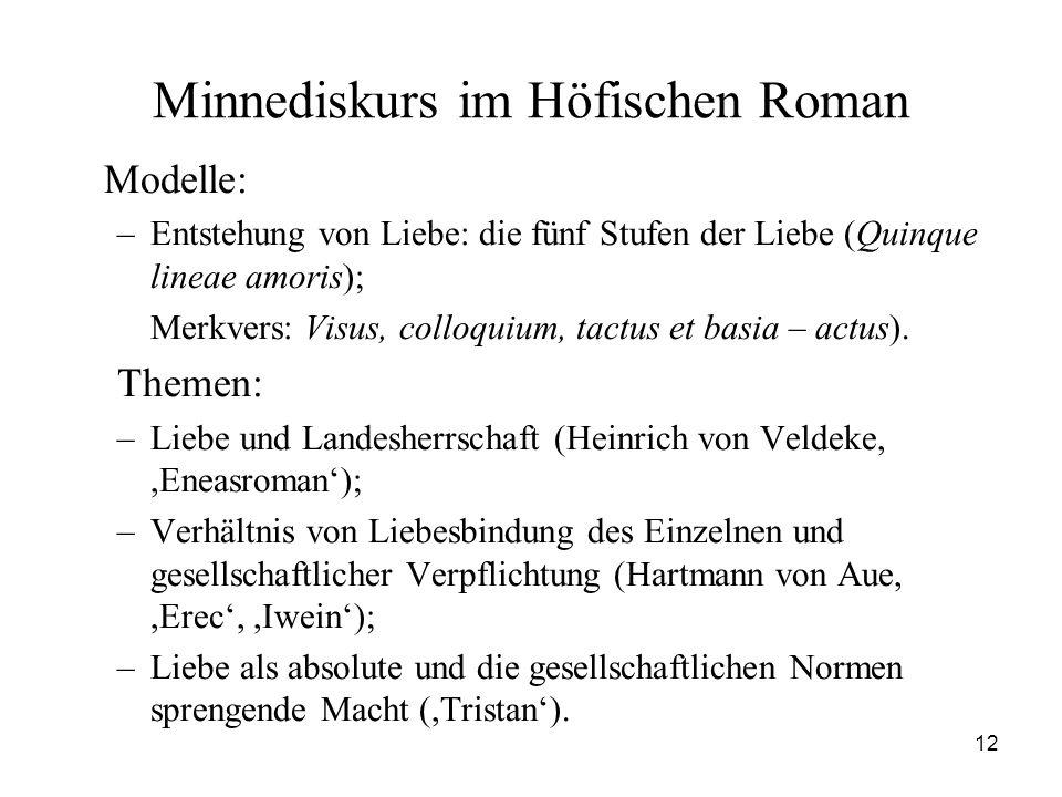 12 Minnediskurs im Höfischen Roman Modelle: –Entstehung von Liebe: die fünf Stufen der Liebe (Quinque lineae amoris); Merkvers: Visus, colloquium, tac