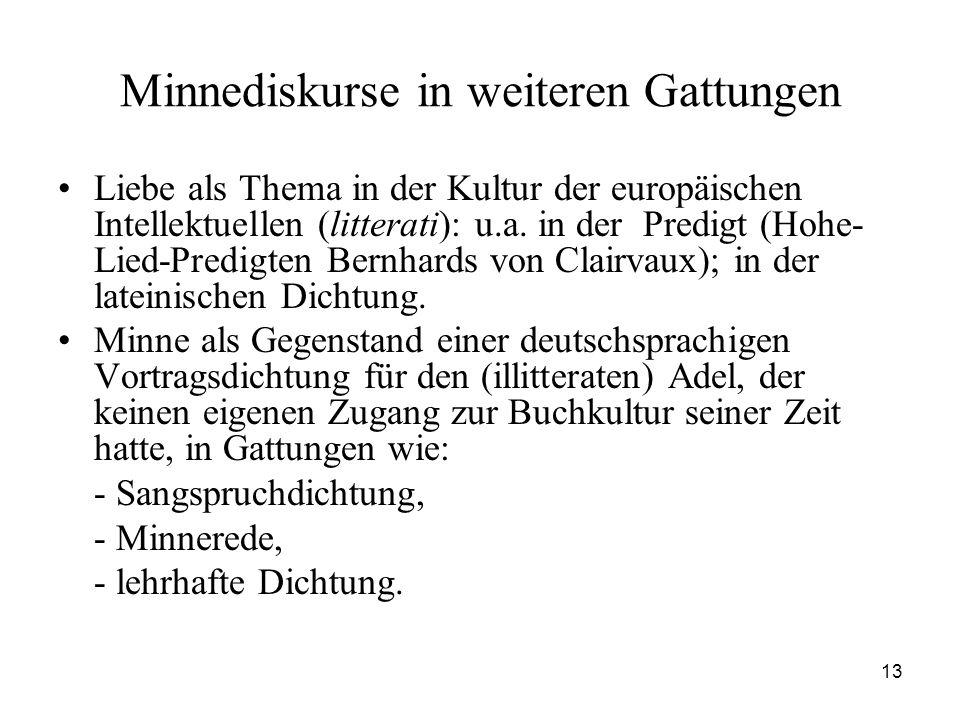 13 Minnediskurse in weiteren Gattungen Liebe als Thema in der Kultur der europäischen Intellektuellen (litterati): u.a. in der Predigt (Hohe- Lied-Pre