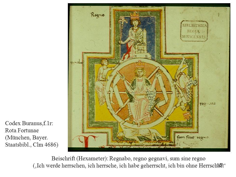 15 Codex Buranus,f.1r: Rota Fortunae (München, Bayer. Staatsbibl., Clm 4686) Beischrift (Hexameter): Regnabo, regno gegnavi, sum sine regno (Ich werde