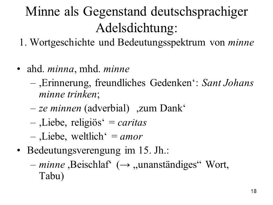 18 Minne als Gegenstand deutschsprachiger Adelsdichtung: 1. Wortgeschichte und Bedeutungsspektrum von minne ahd. minna, mhd. minne –,Erinnerung, freun