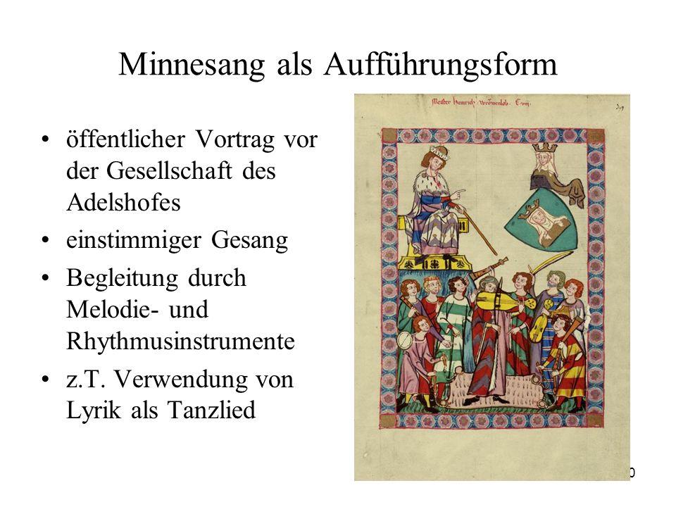 20 Minnesang als Aufführungsform öffentlicher Vortrag vor der Gesellschaft des Adelshofes einstimmiger Gesang Begleitung durch Melodie- und Rhythmusin