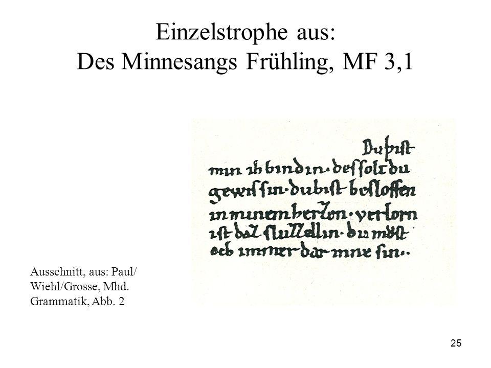 25 Einzelstrophe aus: Des Minnesangs Frühling, MF 3,1 Ausschnitt, aus: Paul/ Wiehl/Grosse, Mhd. Grammatik, Abb. 2