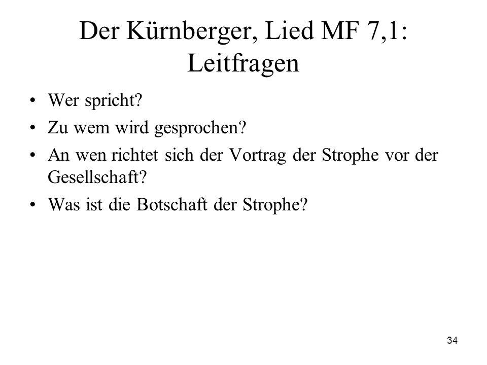 34 Der Kürnberger, Lied MF 7,1: Leitfragen Wer spricht? Zu wem wird gesprochen? An wen richtet sich der Vortrag der Strophe vor der Gesellschaft? Was