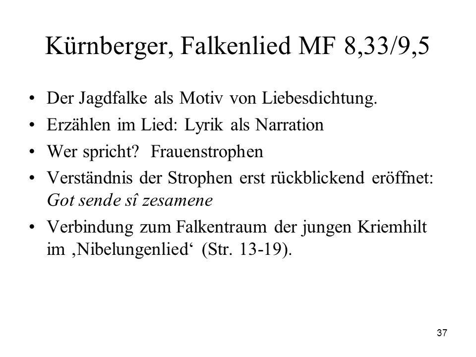 37 Kürnberger, Falkenlied MF 8,33/9,5 Der Jagdfalke als Motiv von Liebesdichtung. Erzählen im Lied: Lyrik als Narration Wer spricht? Frauenstrophen Ve