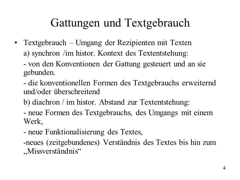 4 Gattungen und Textgebrauch Textgebrauch – Umgang der Rezipienten mit Texten a) synchron /im histor. Kontext des Textentstehung: - von den Konvention