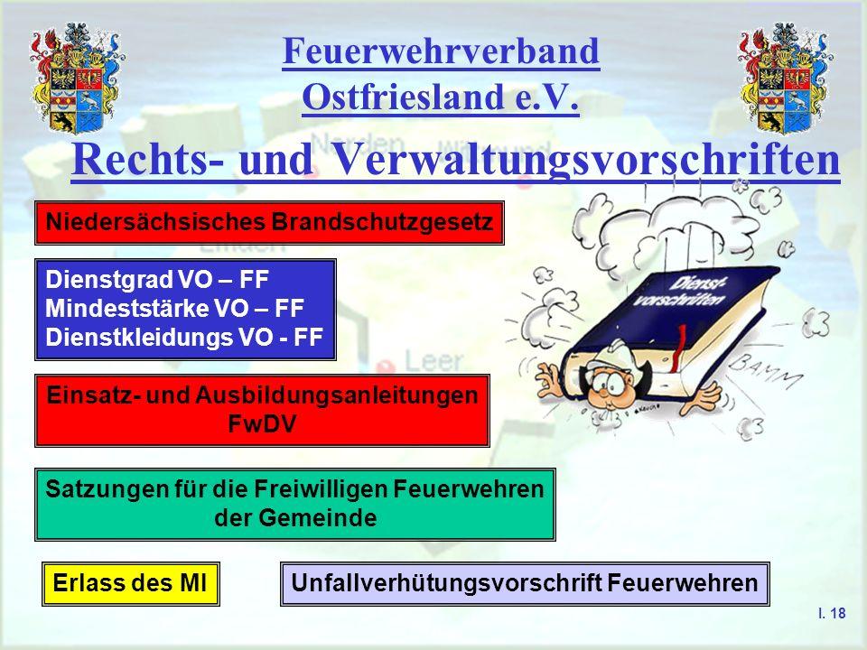 Feuerwehrverband Ostfriesland e.V. Rechts- und Verwaltungsvorschriften Niedersächsisches Brandschutzgesetz Dienstgrad VO – FF Mindeststärke VO – FF Di