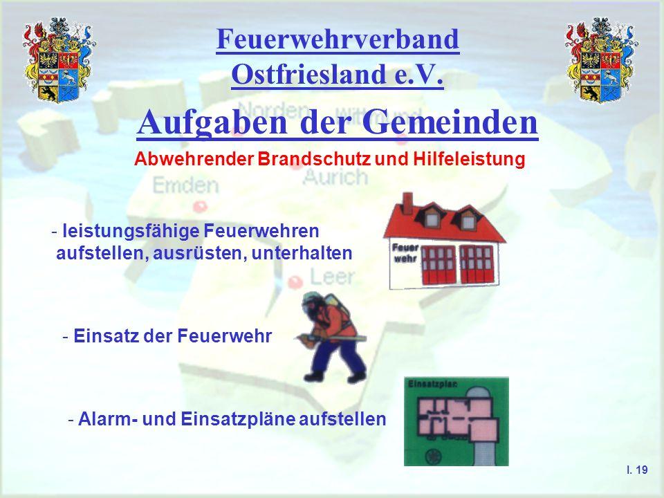 Feuerwehrverband Ostfriesland e.V. Aufgaben der Gemeinden Abwehrender Brandschutz und Hilfeleistung - leistungsfähige Feuerwehren aufstellen, ausrüste