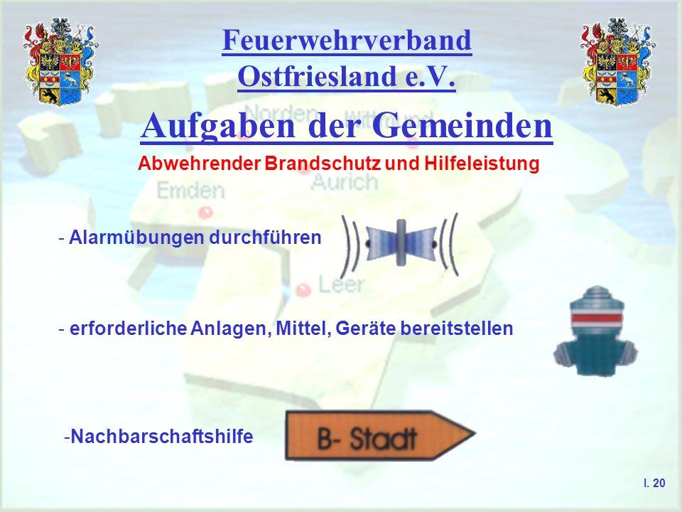 Feuerwehrverband Ostfriesland e.V. Aufgaben der Gemeinden Abwehrender Brandschutz und Hilfeleistung - Alarmübungen durchführen - erforderliche Anlagen