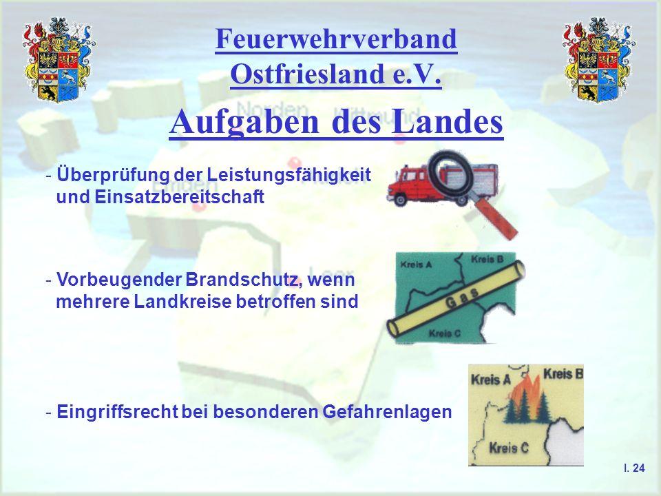 Feuerwehrverband Ostfriesland e.V. Aufgaben des Landes - Überprüfung der Leistungsfähigkeit und Einsatzbereitschaft - Vorbeugender Brandschutz, wenn m