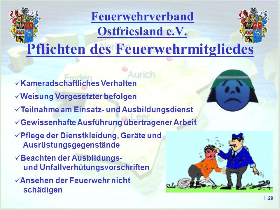 Feuerwehrverband Ostfriesland e.V. Pflichten des Feuerwehrmitgliedes Kameradschaftliches Verhalten Weisung Vorgesetzter befolgen Teilnahme am Einsatz-