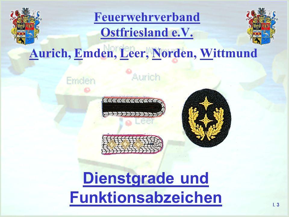 Feuerwehrverband Ostfriesland e.V. Aurich, Emden, Leer, Norden, Wittmund Dienstgrade und Funktionsabzeichen I. 3