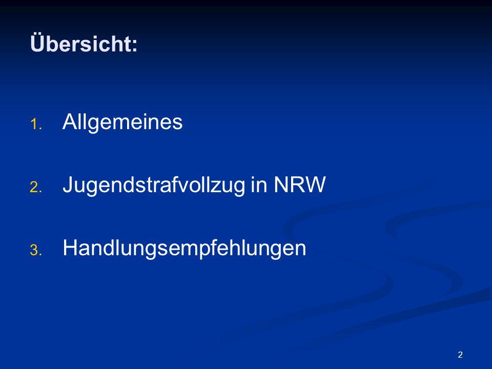 2 Übersicht: 1. 1. Allgemeines 2. 2. Jugendstrafvollzug in NRW 3. 3. Handlungsempfehlungen