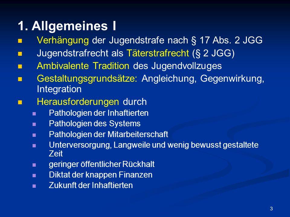 3 1. Allgemeines I Verhängung der Jugendstrafe nach § 17 Abs. 2 JGG Jugendstrafrecht als Täterstrafrecht (§ 2 JGG) Ambivalente Tradition des Jugendvol