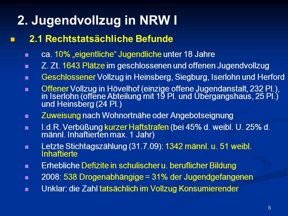 5 2. Jugendvollzug in NRW I 2.1 Rechtstatsächliche Befunde ca. 10% eigentliche Jugendliche unter 18 Jahre Z. Zt. 1643 Plätze im geschlossenen und offe
