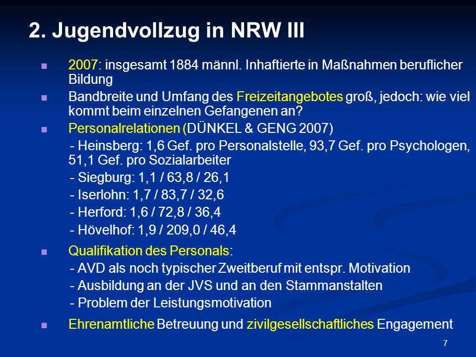 7 2. Jugendvollzug in NRW III 2007: insgesamt 1884 männl. Inhaftierte in Maßnahmen beruflicher Bildung Bandbreite und Umfang des Freizeitangebotes gro