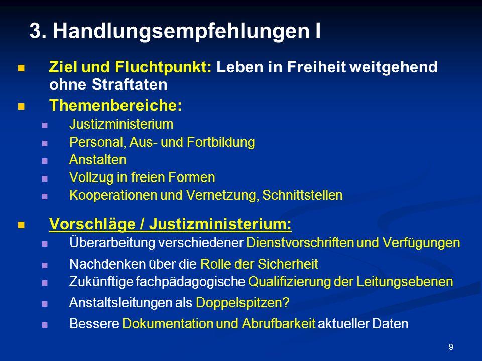 9 3. Handlungsempfehlungen I Ziel und Fluchtpunkt: Leben in Freiheit weitgehend ohne Straftaten Themenbereiche: Justizministerium Personal, Aus- und F