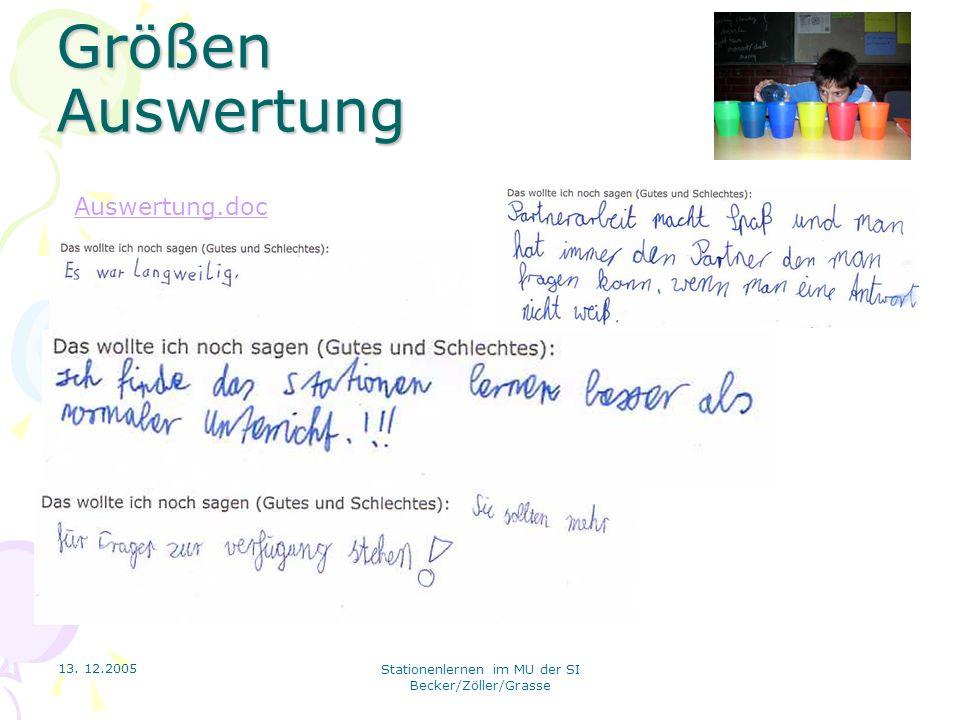 13. 12.2005 Stationenlernen im MU der SI Becker/Zöller/Grasse Größen Auswertung Auswertung.doc
