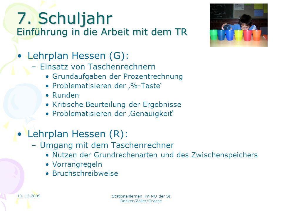 13. 12.2005 Stationenlernen im MU der SI Becker/Zöller/Grasse 7. Schuljahr Einführung in die Arbeit mit dem TR Lehrplan Hessen (G): –Einsatz von Tasch