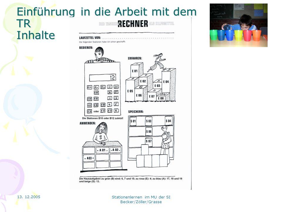 13. 12.2005 Stationenlernen im MU der SI Becker/Zöller/Grasse Einführung in die Arbeit mit dem TR Inhalte