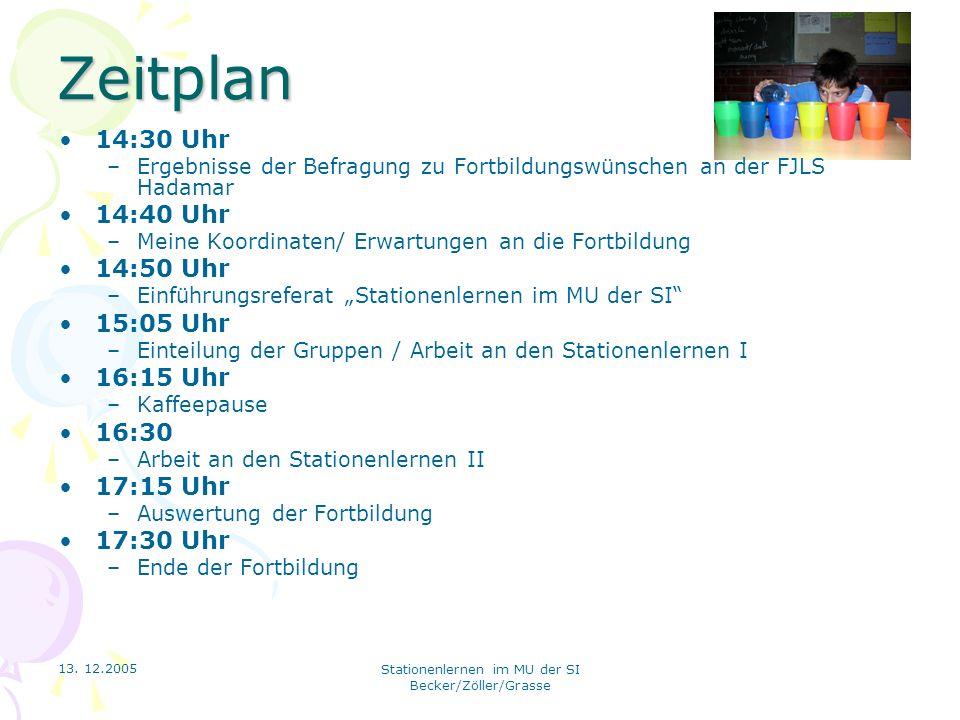13. 12.2005 Stationenlernen im MU der SI Becker/Zöller/Grasse Zeitplan 14:30 Uhr –Ergebnisse der Befragung zu Fortbildungswünschen an der FJLS Hadamar