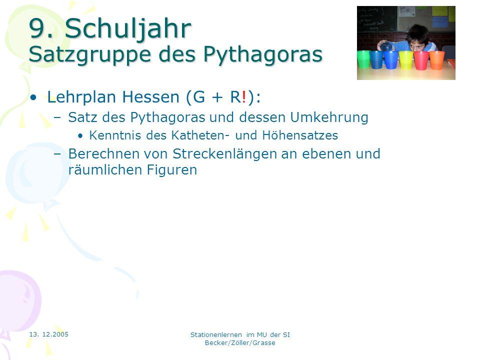 13. 12.2005 Stationenlernen im MU der SI Becker/Zöller/Grasse 9. Schuljahr Satzgruppe des Pythagoras Lehrplan Hessen (G + R!): –Satz des Pythagoras un