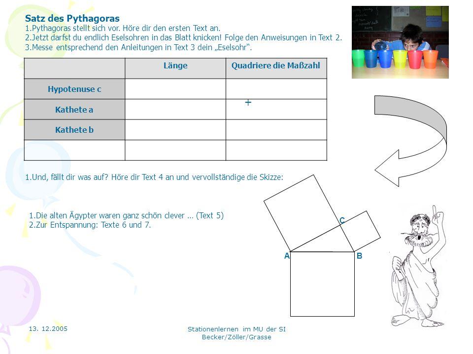 13. 12.2005 Stationenlernen im MU der SI Becker/Zöller/Grasse + A B C Satz des Pythagoras 1.Pythagoras stellt sich vor. Höre dir den ersten Text an. 2