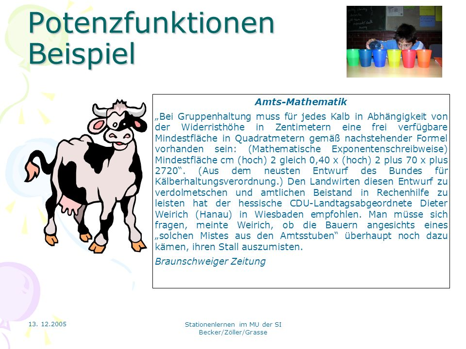 13. 12.2005 Stationenlernen im MU der SI Becker/Zöller/Grasse Potenzfunktionen Beispiel Amts-Mathematik Bei Gruppenhaltung muss für jedes Kalb in Abhä