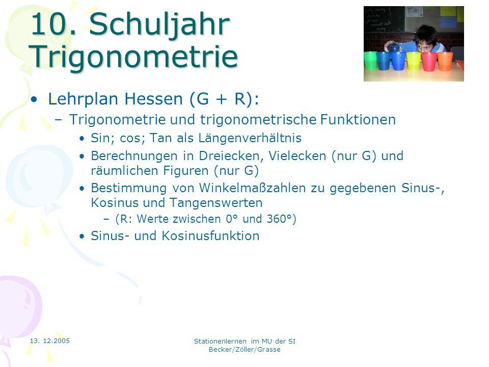 13. 12.2005 Stationenlernen im MU der SI Becker/Zöller/Grasse 10. Schuljahr Trigonometrie Lehrplan Hessen (G + R): –Trigonometrie und trigonometrische