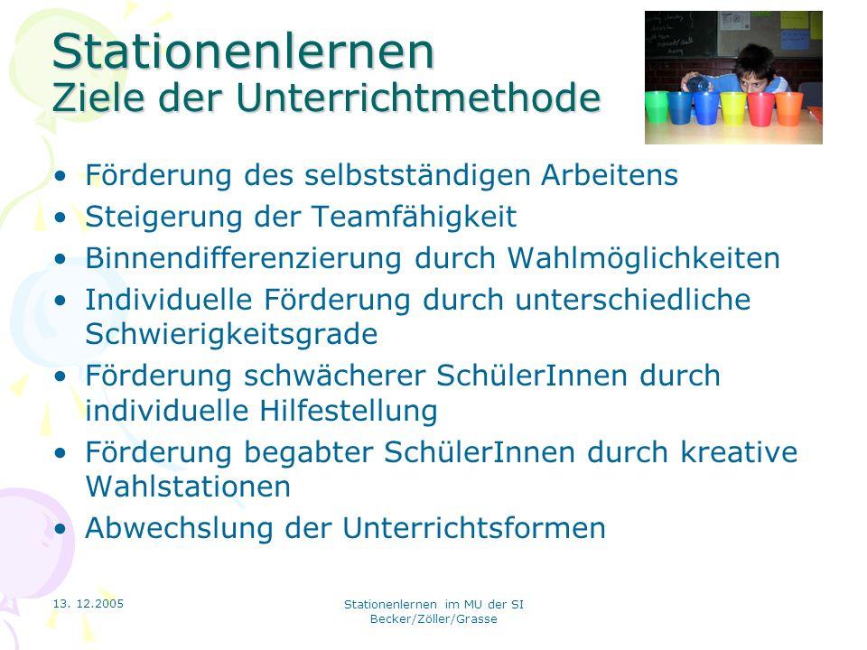 13. 12.2005 Stationenlernen im MU der SI Becker/Zöller/Grasse Stationenlernen Ziele der Unterrichtmethode Förderung des selbstständigen Arbeitens Stei