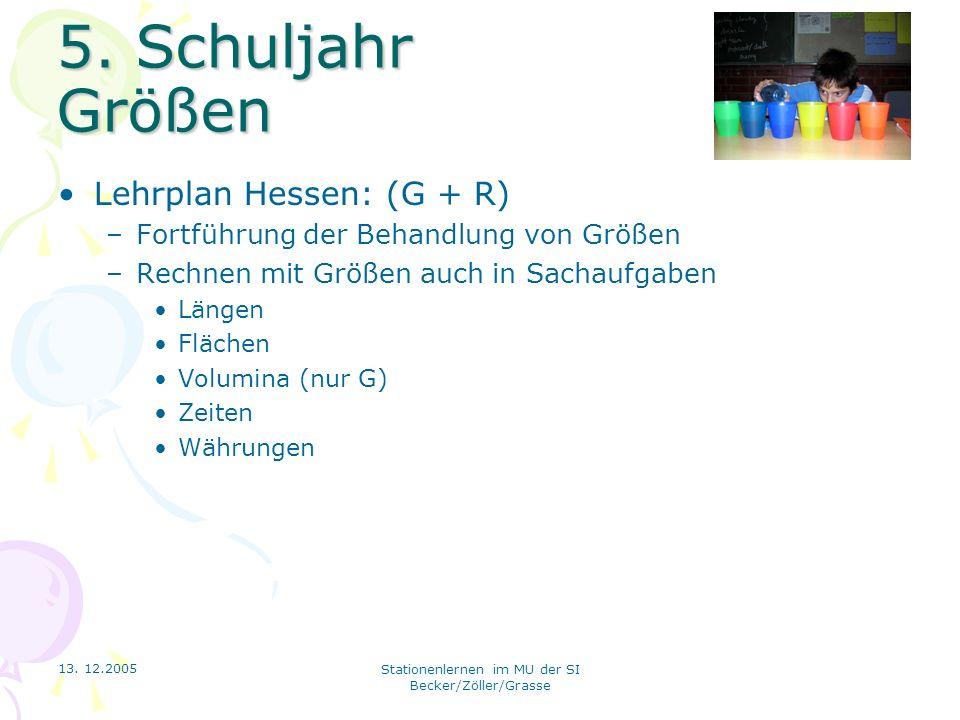 13. 12.2005 Stationenlernen im MU der SI Becker/Zöller/Grasse 5. Schuljahr Größen Lehrplan Hessen: (G + R) –Fortführung der Behandlung von Größen –Rec