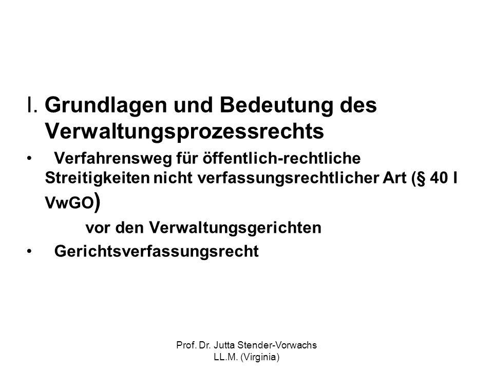 Prof. Dr. Jutta Stender-Vorwachs LL.M. (Virginia) I. Grundlagen und Bedeutung des Verwaltungsprozessrechts Verfahrensweg für öffentlich-rechtliche Str